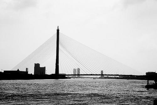 สะพาน พระรามแปด - rama VIII bridge - bangkok (thailand), rama 8 bridge, river, water, บางกอก, ประเทศไทย, สะพาน พระรามแปด