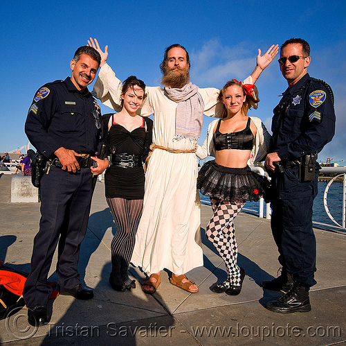 randal, natasha, catie and two SFPD police officers - superhero street fair (san francisco), catie, cops, islais creek promenade, man, natasha, police, randal alan smith, randal smith, sfpd, superhero street fair, uniform, woman