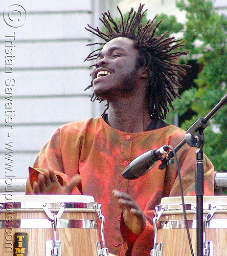 rasta drummer with conga drums, black man, conga drums, dreadlocks, drummer, rasta, reggae