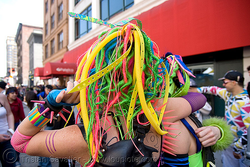 rave hair - how weird street fair (san francisco), clothing, dreadfalls, fashion, kandi kid, kandi raver, neon color, raver outfits, woman