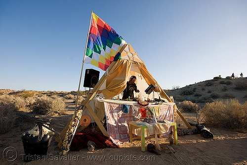 rave party in the desert, desert party, dj, flag, music, psy trance