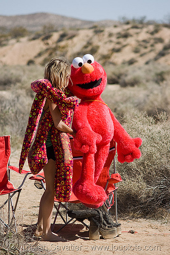 rave party in the desert, elmo, red