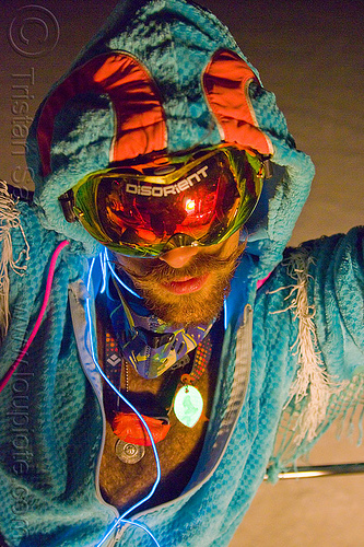 raver costume - burning man 2012, costume, disorient, el-wire, goggles, hat, hood, hooded, man, night, raver
