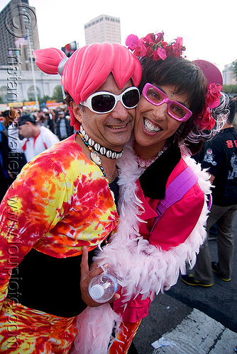 ravers in costumes - lovefest  (san francisco), lovevolution, man, rave costumes, rave outfits, woman