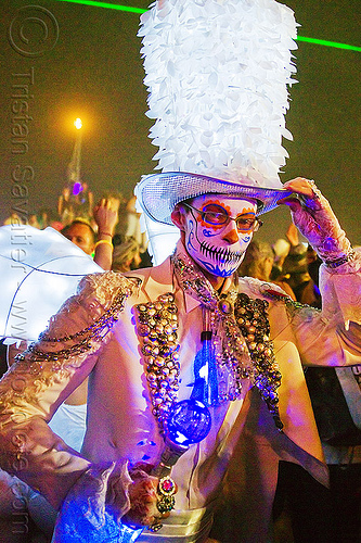 """rebar"" in his trademark dia de los muertos face paint and matador costume - burning man 2012, face painting, facepaint, night, sugar skull makeup"