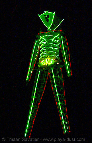 the rebuilt green man - burning man 2007, burning man, glowing, night of the burn, the man