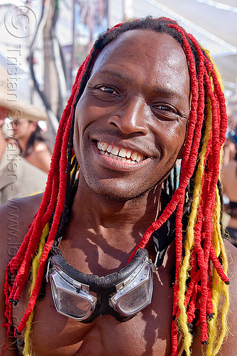 red and yellow dreadlocks - damon knight, african american man, black man, burning man, center camp, damon knight, dreadlocks, dreads, goggles, red