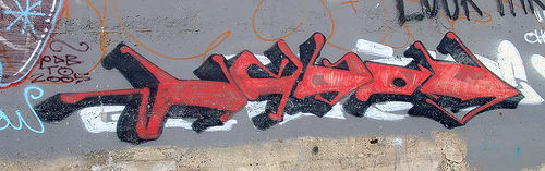 red arrow graffiti (san francisco), graffiti, ocean beach, red