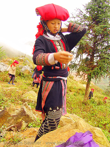 red dao tribe girl - vietnam, asian woman, asian women, colorful, dzao tribe, headdress, hill tribes, indigenous, necklace, red dao tribe, red hat, red zao tribe, vietnam, yao tribe