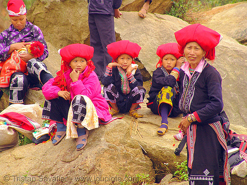 red dao tribe women and children - vietnam, asian woman, asian women, children, childs, colorful, dzao tribe, headdress, hill tribes, indigenous, kids, red dao tribe, red zao tribe, sitting, vietnam, yao tribe