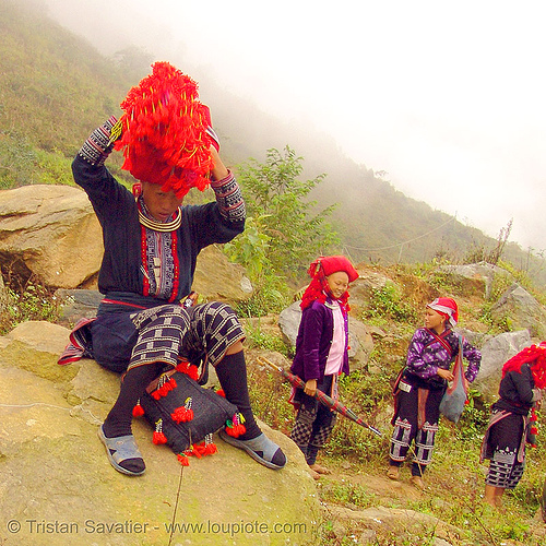 red dao tribe women on trail - vietnam, asian woman, asian women, dzao tribe, headdress, headwear, hill tribes, indigenous, red dao tribe, red zao tribe, sapa, tribe girls, turban, yao tribe