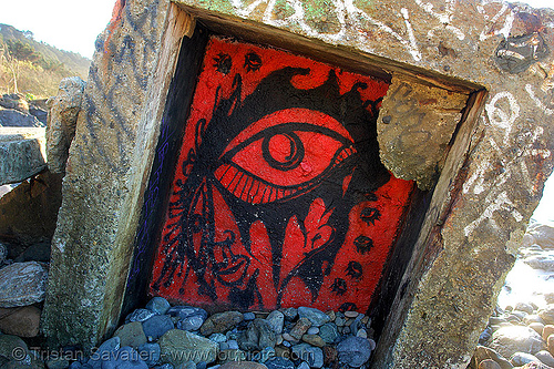 red eyes graffiti (san francisco), eye graffiti, lands end, red eyes
