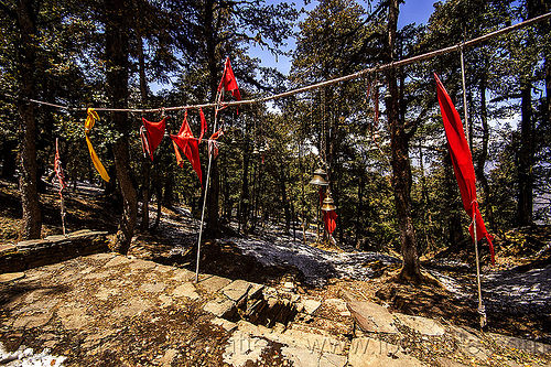 red flags and bells at hindu shrine in mountain forest (india), bells, forest, hinduism, mountains, red flags, shrine