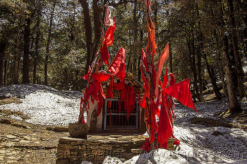 red flags and snow around hindu shrine in forest (india), forest, hinduism, india, mountains, red flags, shrine, snow