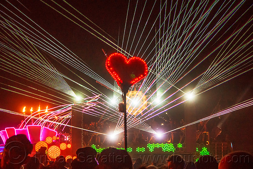 red heard on stick glowing in the night - white lasers - burning man 2016, burning man, dancing, mutant vehicles, night, unidentified art car, white lasers
