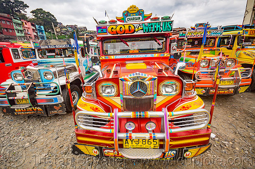 red jeepney at jeepney parking (philippines), baguio, colorful, decorated, front grill, jeepney, painted, philippines, truck