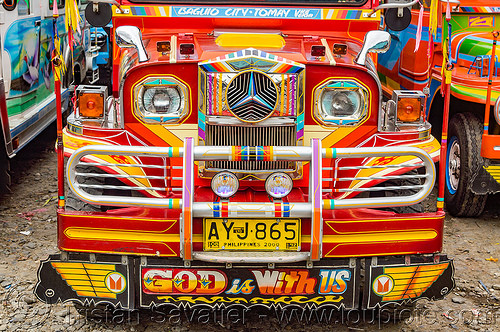 red jeepney - front grill (philippines), baguio, colorful, decorated, front grill, jeepney, painted, philippines, truck