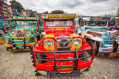 red jeepney (philippines), baguio, colorful, decorated, front grill, jeepney, painted, philippines, truck