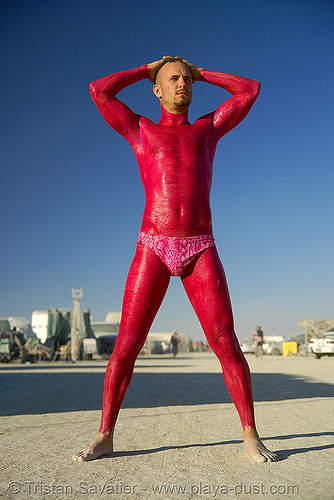 red man - burning man 2007, body art, body paint, body painting, burning man, kevin cooklin, latex bodypaint, latex paint, male underwear, man underwear, red man