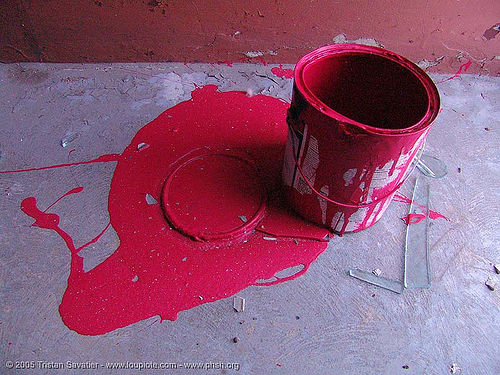 red paint can - abandoned hospital (presidio, san francisco) - phsh, abandoned building, abandoned hospital, decay, graffiti, paint, presidio hospital, presidio landmark apartments, red, trespassing, urban exploration
