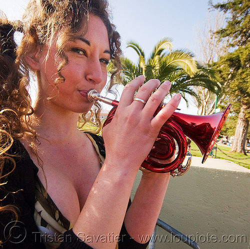 red piccolo trumpet, brass, dolores park, musician, piccolo trumpet, playing music, red, small trumpet, valerie, woman