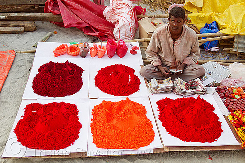 red pigment powder at street market (india), heaps, hindu, hinduism, kumbha mela, maha kumbh mela, man, red pigment, street vendor