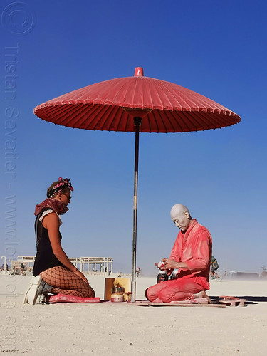 red tea ceremony - burning man 2019, art installation, burning man, japan, japanese tea ceremony, ken hamazaki, red tea ceremony, red umbrella