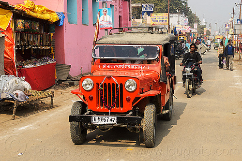 red willys jeep (india), 4x4, all-terrain, car, daraganj, hindu, hinduism, m606, maha kumbh mela, red, street, willys jeep