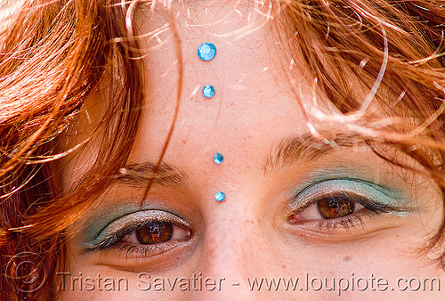 redhead - blue bindis - yulia (san francisco), bindis, eye shadow, eyes, how weird festival, makeup, red hair, redhead, woman, yulia
