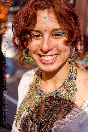 redhead - blue bindis - yulia (san francisco), bindis, chainmail necklace, how weird festival, red hair, redhead, woman, yulia