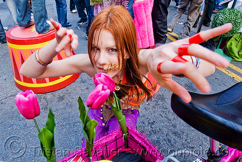redhead exotic dancer - woman - tulip flowers, dancer, how weird festival, red hair, redhead, tulip flowers, woman