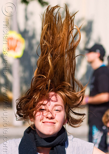 redhead hair - lana - superhero street fair (san francisco), islais creek promenade, long hair, redhead, superhero street fair, woman