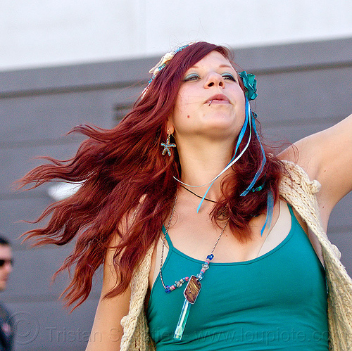 redhead woman dancing, burning man decompression, lip piercing, michelle, people, red hair