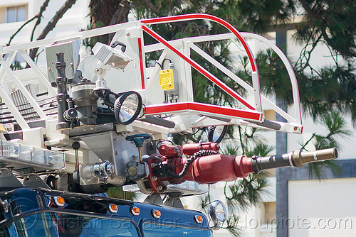 remote-controled water cannon on fire ladder, automatic, fire department, fire engine, fire truck, fireladder, ladder, nozzle, remote controled, sffd, water cannon