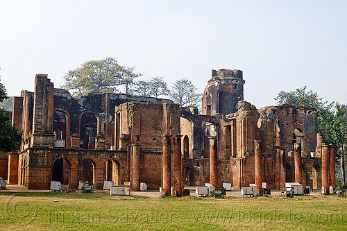 residency ruins - lucknow (india), architecture, barracks, bricks, british residency, buildings, columns, lawn, lucknow, park, ruins, turf