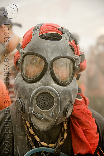 respirator - burner with dust mask - burning man 2008, burning man, center camp, dust mask, goggles, people, respirator