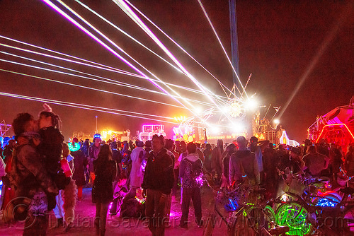 revelers dancing on the night of the burn - burning man 2016, burning man, dancing, night, unidentified art car, white lasers