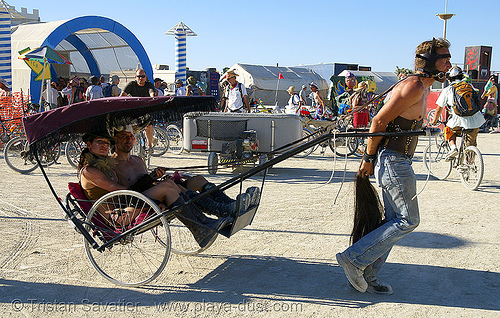 rickshaw - burning man 2007, art car, burning man, cycle rickshaw, sulkie, unidentified art