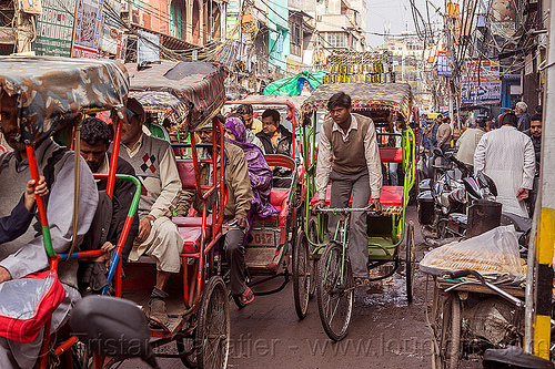 rickshaw traffic on street of old delhi (india), cycle rickshaws, delhi, india, traffic