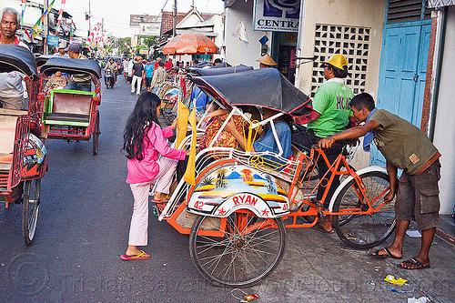 rickshaws in jogja, 42, becaks, cycle rickshaws, java, jogja, jogjakarta, ryan, street, yogyakarta