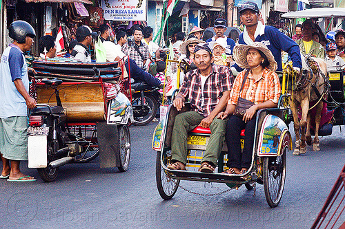 rickshaws in jogja, becak motor, becaks, cycle rickshaws, cyclo, horse carriage, indonesia, jogja, yogyakarta