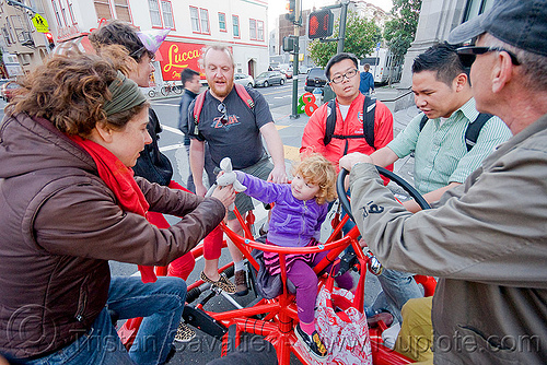 riding the conference bike, child, cobi bike, conference bike, eric staller, human powered, kid, pedal powered, red, street, vehicle
