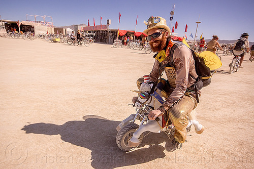 riding unicorn mini motorbike - burning man 2015, art, mini moto, motorcycle, people