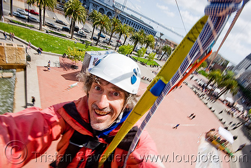 riding the zip-line over san francisco, adventure, cable line, cables, climbing helmet, embarcadero, extreme sport, gear, hanging, harness, justin herman plaza, man, mountaineering, self portrait, selfie, sling, steel cable, strap, tristan savatier, trolley, tyrolienne, urban, zip line, zip wire, ziptrek