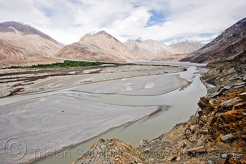 river bed - nubra valley - ladakh (india), india, ladakh, mountains, nubra valley, river bed