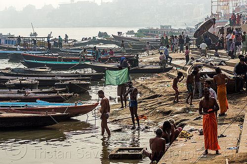 river boats moored at the ghats of varanasi (india), ganga, ganga river, ganges, ganges river, people, water