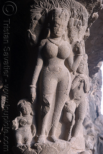 river hindu goddess statue - underground hindu and buddhist temples - ellora caves (india), ellora caves, hindu temple, hinduism, india, river goddess, sculpture, statue, woman