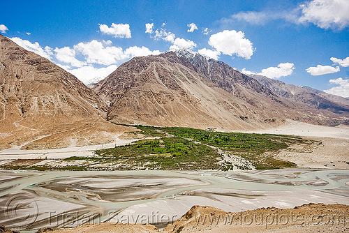 river - nubra valley - ladakh (india), mountains, river bed, stock photo