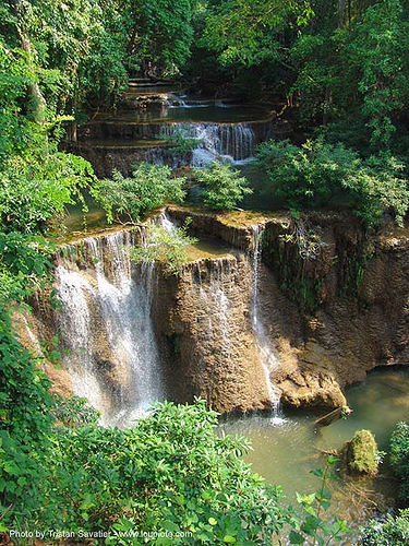 river with waterfalls - thailand, cascade, cave formations, falls, speleothems, thailand, waterfall