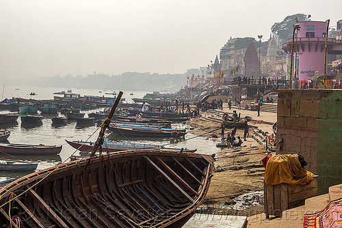 riverboats moored at the ghats of varanasi (india), boats, ganga, ganga river, ganges, ganges river, mooring, people, river bank, river boats, water